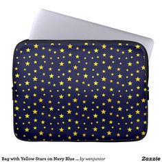 Bag with Yellow Stars on Navy Blue Background