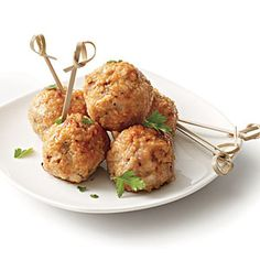 Quick Quinoa Meatballs.  Substitute ground beef for pork and omit cinnamon.  70 calories/serving