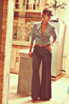 wide leg trousers and gingham shirt.