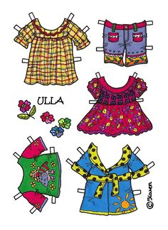 Karen`s Paper Dolls: Ulla 1-4 Paper Doll Bear to Print in Colours. Ulla 1-4 påklædningsbamse til at printe i farver.