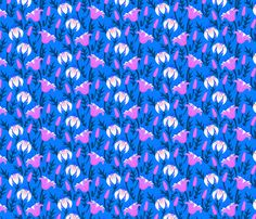 Tulips and lilies at night - tukkki - Spoonflower