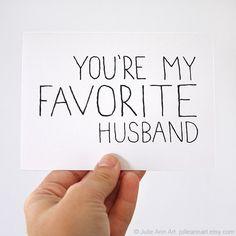 Love Card Husband Card You're My Favorite Husband door JulieAnnArt