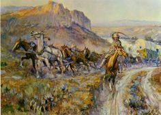 Wild West Paintings | 1912 Charles M Russell Painting Wild West Art Horses