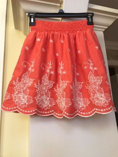 8e0b599656 Francescas tangerine orange cream floral embroidered fully lined skirt sz S  #fashion #clothing #