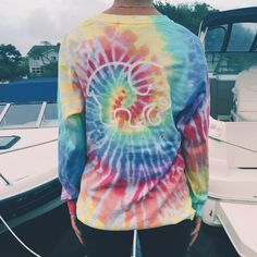 Pocketed Rainbow Tie-Dye Classic Print – Ivory Ella (size S) Tie Dye Tops, Tie Dye Shirts, Cotton Shirts, Tie Dye Long Sleeve, Long Sleeve Shirts, Dress To Impress, Cool Outfits, Casual Outfits, Ivory
