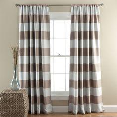 Lush Decor Horizontal Stripe Blackout 84-Inch Curtain Panel Pair (Taupe), Brown, Size 52 x 84