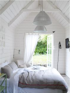 Check Out 37 Impressive White Bedroom Design Ideas. White is a Royal color – it's the color of purity and beauty. A white bedroom looks relaxing, inviting and calm, it's like sleeping on a cloud. White Bedroom Design, White Interior Design, Bedroom Designs, Dream Bedroom, Home Bedroom, Bedroom Decor, Outdoor Bedroom, Master Bedroom, Airy Bedroom