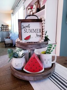 9 Stunning Watermelon Themed Tiered Tray Ideas – diy summer decor 7 Top Bohemian Style Decor Tips with Adorable Interior Ideas Wooden decorative yachts – The White Lighthouse Spring Home Decor, Diy Home Decor, Summer House Decor, Spring Kitchen Decor, Kitchen Decorating, Kitchen Decor Themes, Summer Decoration, Spring Decorations, Watermelon Decor