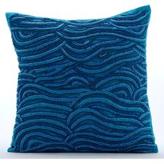 Blue Decorative Pillows Cover 16x16 Silk Pillows by TheHomeCentric