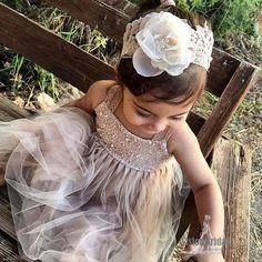Lovely Regular Straps Top Sequin With Beaded Tulle A-line Flower Girl Dresses, Little girl Dresses, VB0842 #flowergirl #flowergirldress
