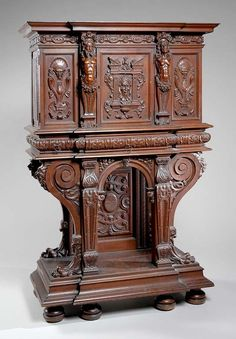 2101: French Renaissance Revival Carved Walnut Cabinet