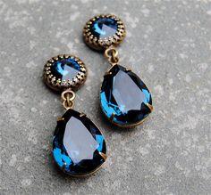 Navy Blue Earrings, Crown Earrings Swarovski Crystal Pacific Opal Aurora Borealis Pear Dangle Earrings Antique Navy Earrings, Crown Earrings, Bridal Earrings, Chandelier Earrings, Ring Earrings, Blue Chandelier, Swarovski Crystal Earrings, Crystal Jewelry, Crystal Rhinestone