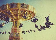 Carnival swings photo, swing, memories, fair, summer, circus, festival, turquoise, vintage, retro, home decor, 5x7 fine art print