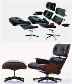 The Charles and Ray Eames lounge chair. Click on the image to discover its story see more mid-century modern furniture https://www.emfurn.com