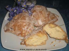 Pan frito o rebanás Banana Colada, Donuts, French Toast, Bread, Cheese, Breakfast, Cake, Sweet, Desserts