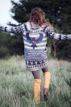 Tribal prints and chunky knit sweaters - perfection. (Free People)