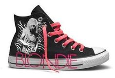 49f02c7d6dce Blondie converse - Classic black Chuck Taylors get a makeover in the form  on a print of Blondie frontwoman Debbie Harry and a bold splash of neon  pink for ...