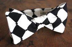 Black And White Diamond Cotton Bow Tie Handmade by LordWallington, $45.00