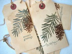 Christmas Gift Tag Pine Tree Pine Cone Woodland by CharonelDesigns