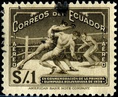 "Boxing (aka ""the sweet science""), engraved and printed by the American Bank Note Company  as one stamp in a set of five commemorating Ecuadorian victories in the 1938 South American Olympic Games . Issued by Ecuador on March 15, 1939"