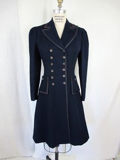 1940s Navy Fitted Dress Coat Worth Label by tovasvintage on Etsy, $125.00