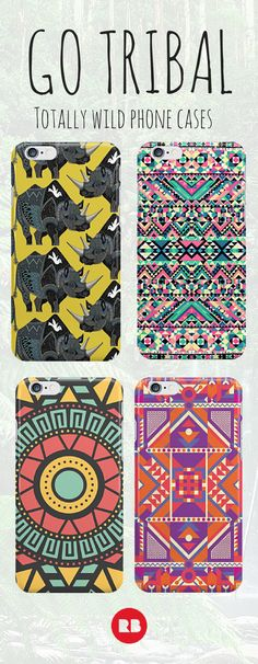 Dress up your phone for summer with a totally tribal case. These artist designed prints put a whole new spin on the geometric trend. Shop for iPhone and Android. #tribal