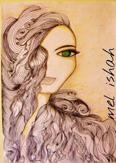 pintura en tiza pastel con los dedos #paint #painting #art #drawing #fem #beauty #hair #green eyes #waves #girl #woman #mel