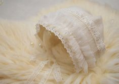 Newborn Bonnet Angora Bonnet Ivory Lace Bonnet Knit Baby Newborn Baby Photos, Newborn Photo Props, Baby Girl Newborn, Baby Hats Knitting, Girl With Hat, Photography Props, Ivory, Trending Outfits, Lace