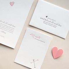 Minimalist Pink and Gray Letterpress Wedding Invitation with Heart -- Sample -- Sweetheart (FREE SHIPPING). $7.50, via Etsy.