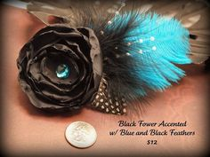 Black and Turquoise Feathered Hair accessory by stylesbym on Etsy, $12.00