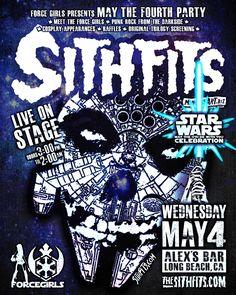 TOMORROW NIGHT!!! ForceGirls Presents: May The 4th Be With You Celebration w/ The Sithfits at Alex's Bar in Long Beach, CA! 3pm till 2am! #StarWars #MayThe4th #Sithfits #SithfitsTheBand #TheSithfits #PunkRock #DarkSide #ForceGirls #JimmyPsycho #SithfitsFiendClub #MillenniumFiendClub #AlexsBar #StarWarsDay #May4th #mancinas #mancinasART Sithfits.com