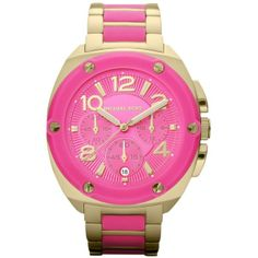 Michael Kors Watch, Women's Chronograph Tribeca Pink Silicone And Gold... ($275) ❤ liked on Polyvore