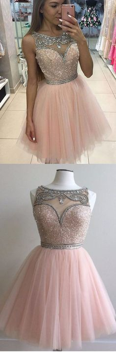 Short Homecoming Dresses, Homecoming Dresses Short, Pink Homecoming Dresses, Short Party Dresses, Pink Party Dresses, Short Pink dresses, Side Zipper Homecoming Dresses, Rhinestone Homecoming Dresses, Mini Homecoming Dresses, Bateau Party Dresses