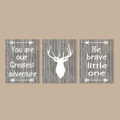 Deer Wall Art, Deer Nursery Decor, Baby Boy Nursery Decor, Country Nursery Decor, Deer Antler, Be Brave Little One Set of 3 Prints Or Canvas by LovelyFaceDesigns on Etsy