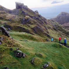 Carla and parents exploring the Quiraing on the Isle of Skye, Scotland