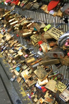 Famous Lock Bridge, Paris, France (there are actually multiple, they keep filling up so they start putting them new bridges)