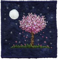 Moonlight Blossoms 8 by Kirsten's Fabric Art Hand Embroidery Patterns, Floral Embroidery, Embroidery Stitches, Tree Of Life Artwork, Textile Artists, Fabric Art, Bead Art, Felt Crafts, Needlework