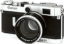 VI T - Sept 1958 (The first Canon camera to feature a non-rotating shutter speed dial with evenly-spaced shutter speed numbers progressing in 2x increments. The viewfinder magnification could be set to 0.65x for a 35mm lens, 1x for a 50mm lens, and 1.55x to aid focusing. The viewfinder also had bright-line frames to suit 50mm and 100mm lenses. Parallax correction was automatic)
