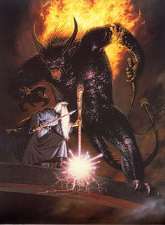 At the Bridge, the duel between Gandalf the Grey and a Balrog of Morgoth by Ted Nasmith Jrr Tolkien, Tolkien Books, Legolas, Gandalf, Dark Fantasy Art, High Fantasy, Balrog Of Morgoth, Demon Dragon, Dragons