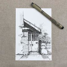 펜드로잉 - 2019 drawings, pencil drawings 및 art drawings. Landscape Pencil Drawings, Landscape Sketch, Pencil Art Drawings, Art Drawings Sketches, Architecture Drawing Sketchbooks, Japon Illustration, Sketch Painting, Urban Sketching, Pen Art