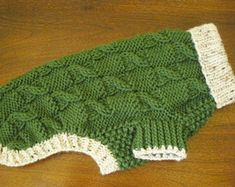 """Dog Sweater - Checkered Cable Knit - Olive Green & Oatmeal Tweed - 14"""" Length - Shih Tzu"""