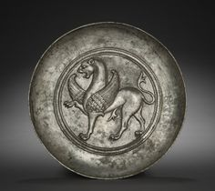 Plate with Winged Griffin. Soghdia, Hephtalite Period, 500's-600's