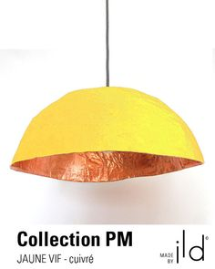 Paper mache light, yellow and copper, ecofriendly.