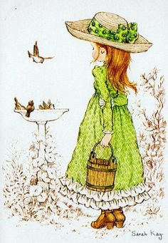 Birdbath - by Sarah Kay Sarah Key, Holly Hobbie, Cute Images, Cute Pictures, Mary May, Australian Artists, Cute Illustration, Illustrations, Vintage Cards