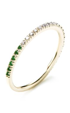 M.O Exclusive Version : Gossamer Black And White Diamond And Green Garnet  Ring by Hirotaka for Preorder on Moda Operandi