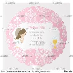 Shop First Communion Brunette Girl Pink Damask Balloon created by KPW_Invitations. Pink Girl, Boy Or Girl, Photo Balloons, First Communion Invitations, Pink Damask, Balloon Shapes, African American Girl, Custom Balloons, First Holy Communion