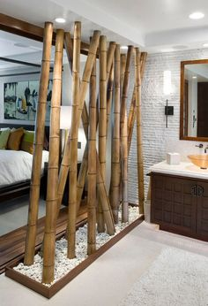 bambus badmöbel asiatischer stil trennwand schlafzimmer badezimmer kieselsteine The Effective Pictures We Offer You About room divider cabinet A quality picture can tell you many things. You can find Wooden Room Dividers, Bamboo Room Divider, Glass Room Divider, Hanging Room Dividers, Sliding Room Dividers, Diy Room Divider, Wall Dividers, Sliding Doors, Bamboo Bathroom