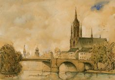 Frankfurt am Main . Frankfurt city landscape print artwork from an original watercolor. Art wall cityscape decor. Germany landscape. Frame and mat not included, just the print. A reproduction of my original painting. These high quality prints are printed with a fine art printing process on a 250 g/m2 high quality thick paper. All prints included a white border (approximately 0.2 in. / 3 mm on all sides) to allow for framing. <> <> <> <> <> SHIPPING:...