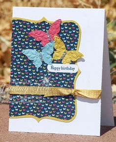 I think I quite like the embossed butterflies. Uses top note die and Stampin up beautiful wings butterfly.