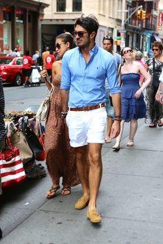 blue button down white shorts brown belt mens fashion casual